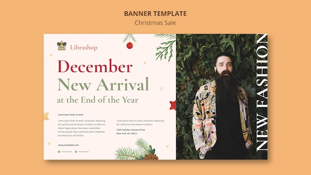 Plantilla de banner para venta de navidad