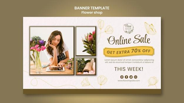 Plantilla de banner de venta online de tienda de flores
