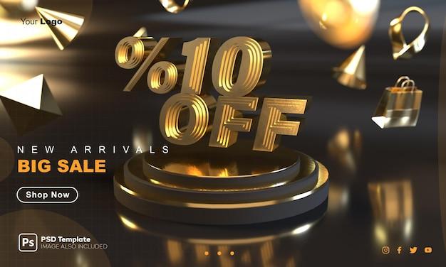 Plantilla de banner de venta de oro con descuento del 10 por ciento