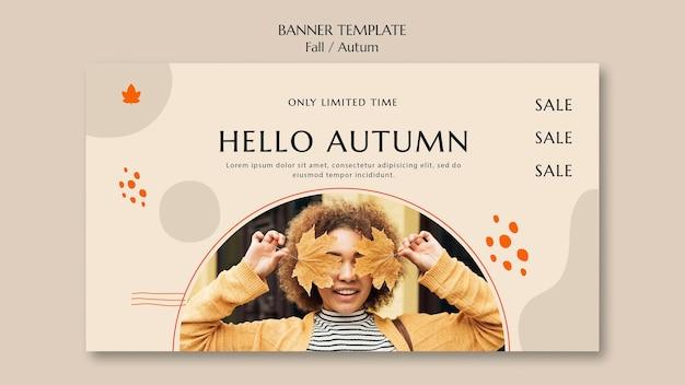 Plantilla de banner para venta de otoño