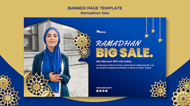 Plantilla de banner para venta de ramadán