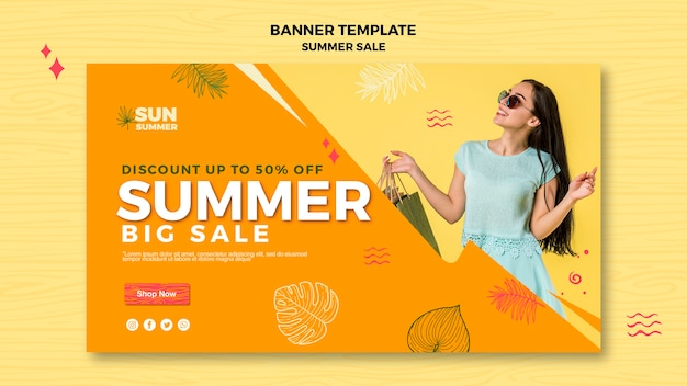Plantilla de banner de venta de verano de chica modelo