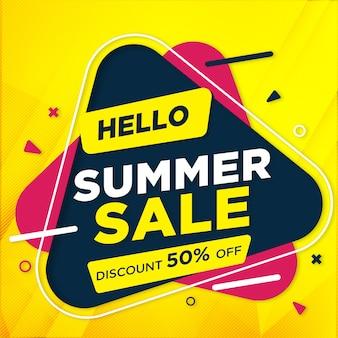 Plantilla de banner de venta de verano con descuento