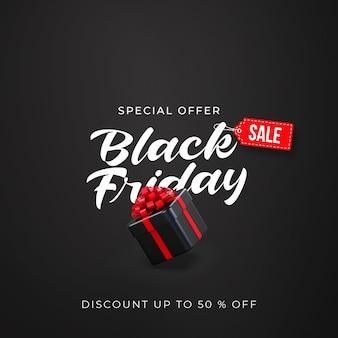Plantilla de banner de venta de viernes negro con caja de regalo negra 3d