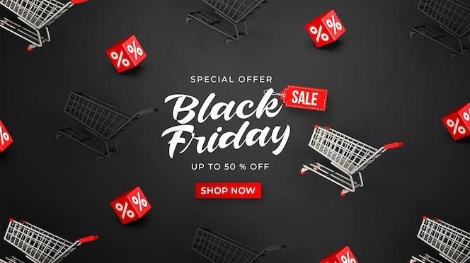 Plantilla de banner de venta de viernes negro con carros de compras 3d y cubos con porcentaje