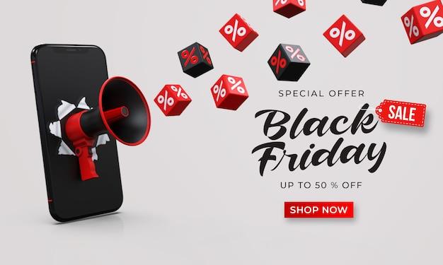 Plantilla de banner de venta de viernes negro con megáfono 3d del teléfono inteligente y cubos con porcentaje