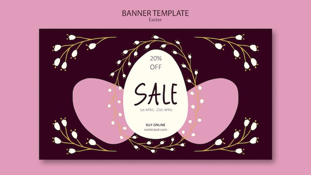 Plantilla de banner de ventas de fin de semana de pascua