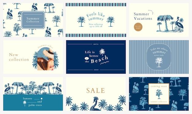 Plantilla de banner de verano azul psd con fondo tropical