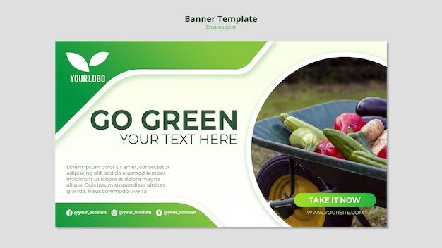 Plantilla de banner verde ir orgánico