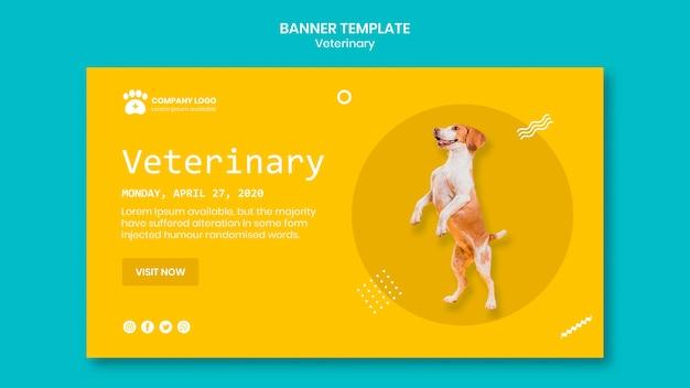 Plantilla de banner veterinario con lindo perro