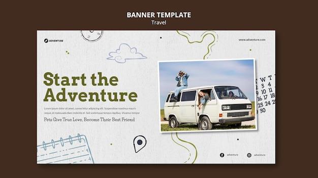 Plantilla de banner de viaje con foto