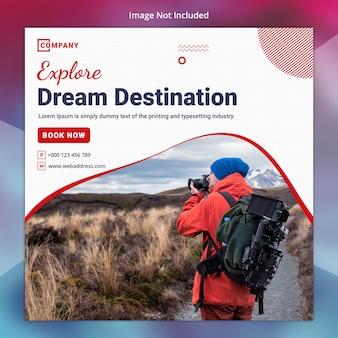 Plantilla de banner de viajes y redes sociales