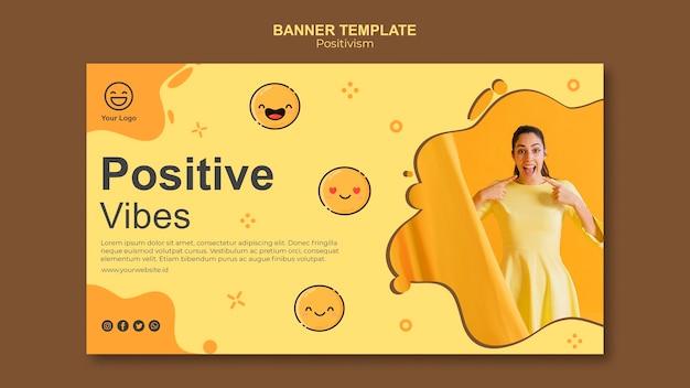 Plantilla de banner con vibraciones positivas