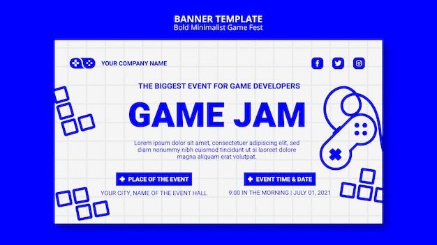 Plantilla de banner de videojuegos jam fest
