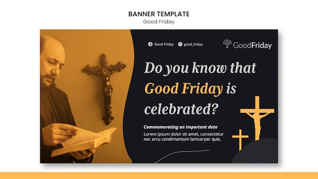 Plantilla de banner de viernes santo con foto