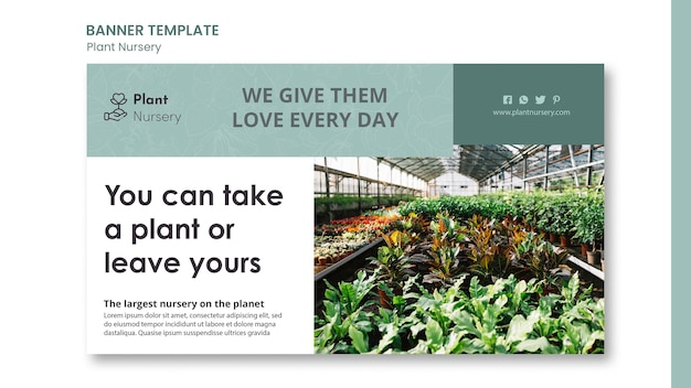 Plantilla de banner de vivero de plantas