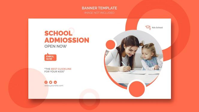 Plantilla de banner web de admisión escolar