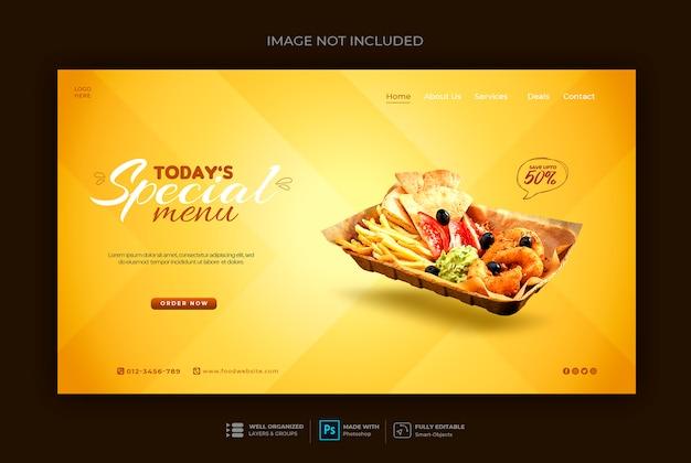 Plantilla de banner web de comida rápida o restaurante
