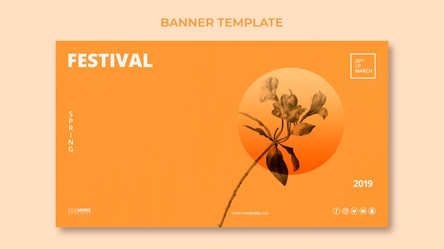 Plantilla de banner web con concepto de festival de primavera