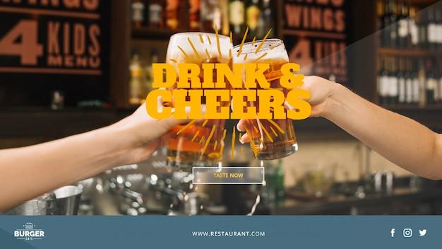 Plantilla de banner web con concepto de restaurante
