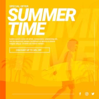 Plantilla de banner web con concepto de verano