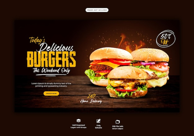 Plantilla de banner web delicioso menú de hamburguesas y comida