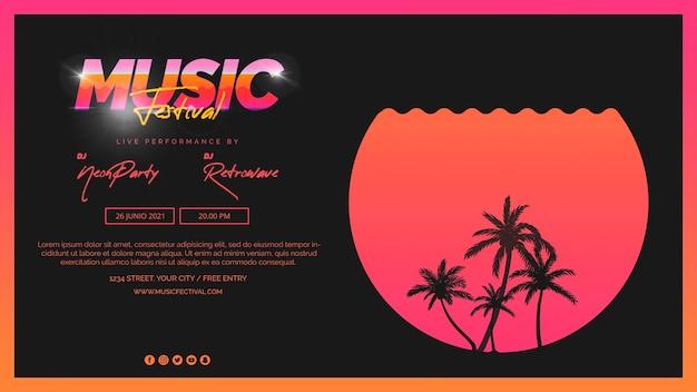Plantilla de banner web para festival de música de los 80