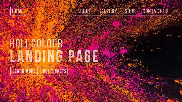 Plantilla de banner web para el holi festival