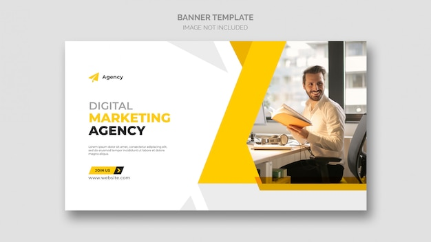 Plantilla de banner web de marketing empresarial digital