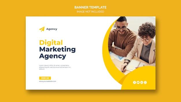 Plantilla de banner web de marketing empresarial digital