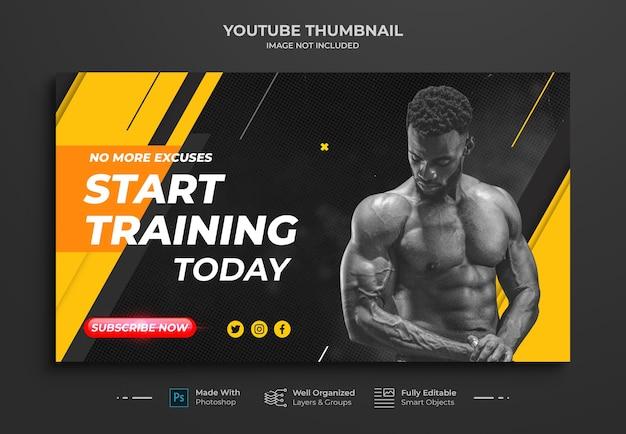 Plantilla de banner web y miniatura de canal de youtube de entrenamiento de fitness para tonificación muscular