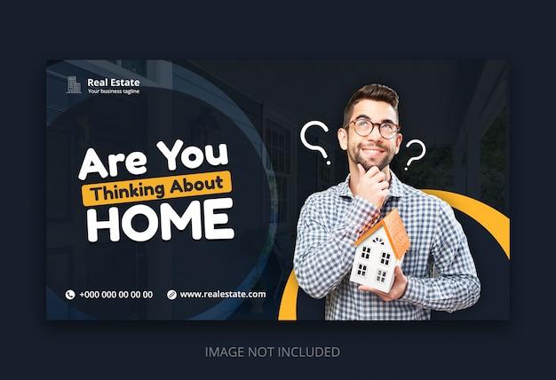 Plantilla de banner web moderno para agencia de negocios inmobiliarios