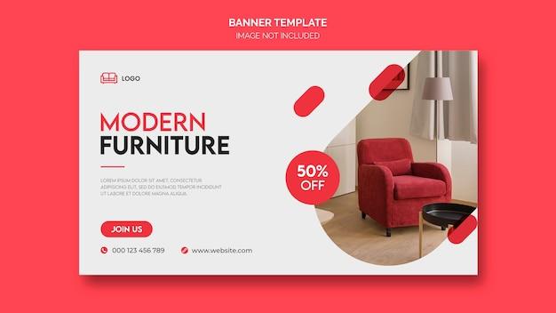 Plantilla de banner web de muebles mínimos