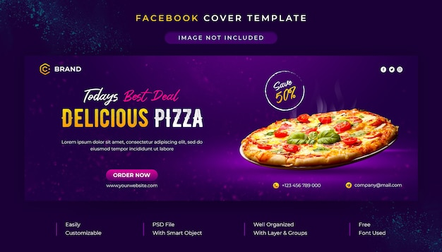 Plantilla de banner web y portada de facebook promocional de restaurante y menú de comida