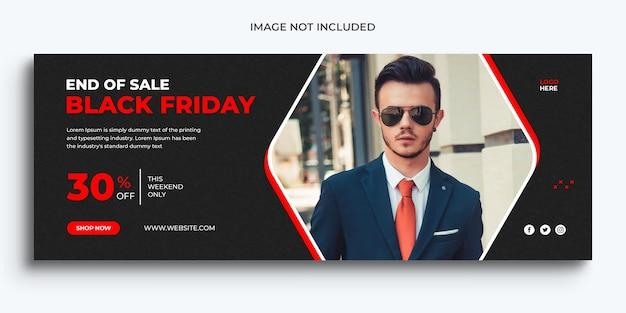 Plantilla de banner web y portada de línea de tiempo promocional de facebook de venta de viernes negro