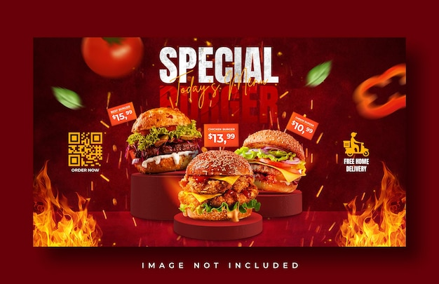 Plantilla de banner web de promoción de menú de comida de hamburguesa