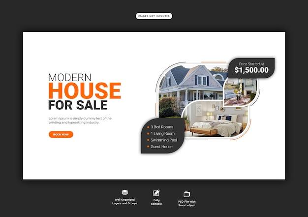 Plantilla de banner web de propiedad inmobiliaria de bienes raíces