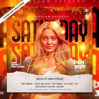 Plantilla de banner web y publicación de club dj party flyer para redes sociales