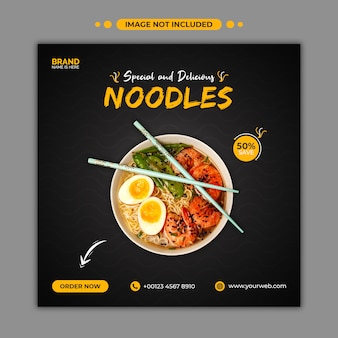 Plantilla de banner web y publicación de redes sociales de deliciosos fideos