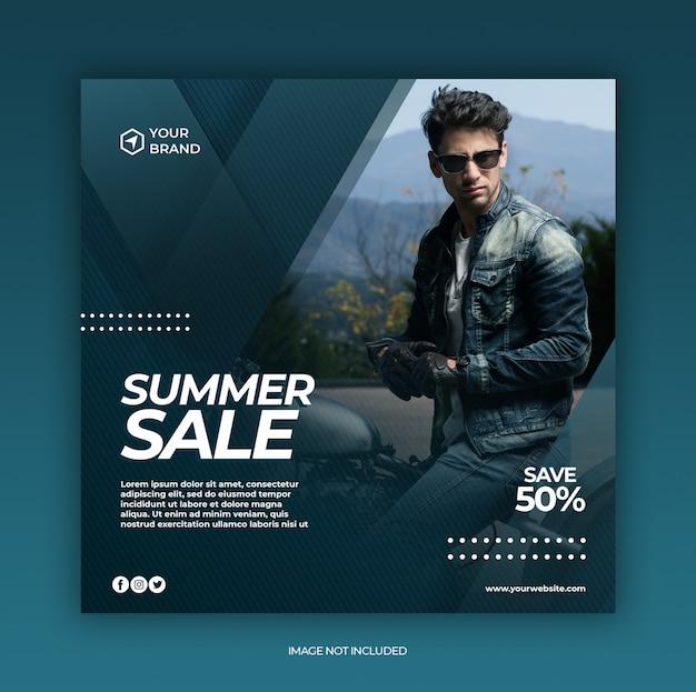 Plantilla de banner web y publicación de redes sociales de venta de moda con concepto de verano