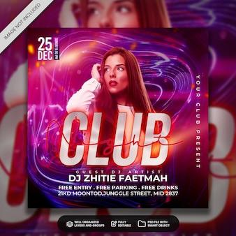 Plantilla de banner web y publicación en redes sociales del volante de fiesta de club dj