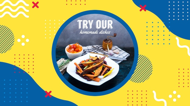 Plantilla de banner web para restaurante en estilo memphis