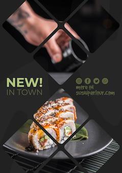 Plantilla de banner web para restaurante japones