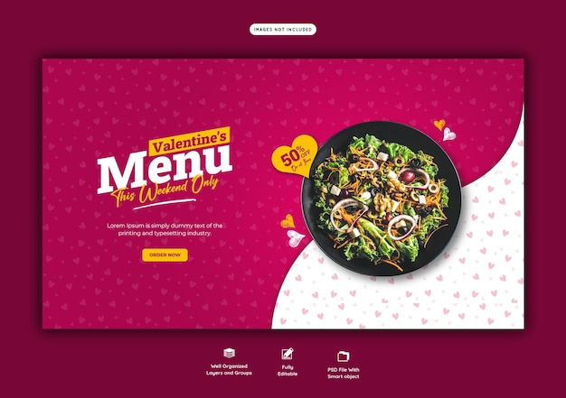 Plantilla de banner web de restaurante y menú de comida de san valentín