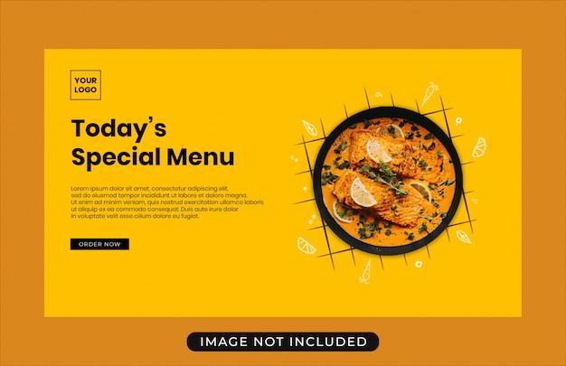 Plantilla de banner web de venta de promoción de menú de alimentos