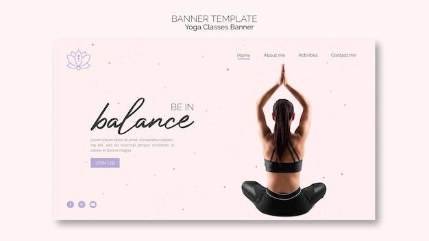 Plantilla de banner de yoga con mujer