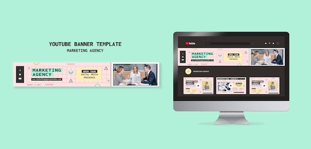 Plantilla de banner de youtube para agencia de marketing en redes sociales