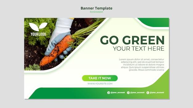 Plantilla de banner de zanahorias orgánicas en tierra