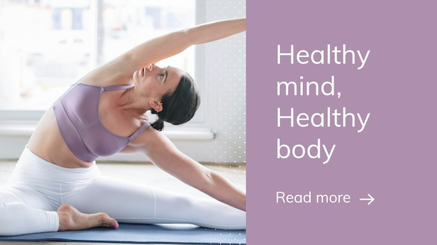 Plantilla de bienestar de ejercicio de yoga psd para presentación de estilo de vida saludable