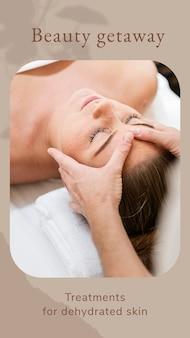 Plantilla de bienestar de escapada de belleza psd / vector con fondo de masaje facial